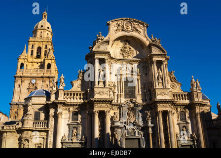 Catedral, the Cathedral church, Plaza del Cardenal Belluga square, old town, Murcia, Spain - Stock Photo