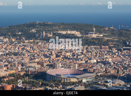Barcelona, City, Hill, Montjuich, National, Nou Camp, Palace, Spain, Europe, Stadium, architecture, Catalonia, famous, - Stock Photo