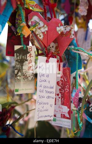 Argentina, Buenos Aires, Retiro, Japanese Garden, Jardin Japones, written messages on wish tree