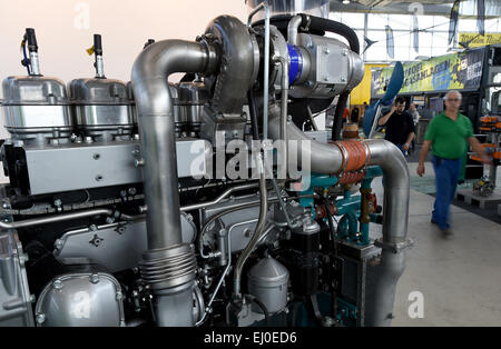 Husum, Germany. 18th Mar, 2015. A biofuel generator on display at the 'New Energy Husum' trade fair in Husum, Germany, - Stock Photo
