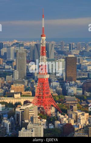 City, Japan, Asia, Landscape, Roppongi Hills, Tokyo, Tokyo Tower, architecture, colourful, minato-ku, no people, - Stock Photo