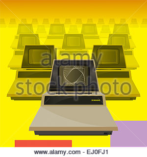 The very latest in eighties personal computing in beige and yellow - Stock Photo