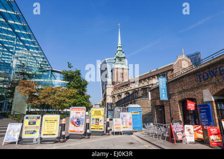 England, London, Advertising Billboards Blocking Footpath - Stock Photo