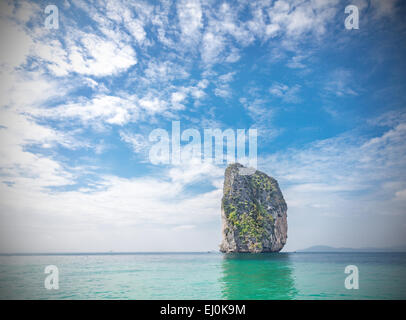Tropical island located in Krabi province, Thailand. Vignette effect applied. - Stock Photo