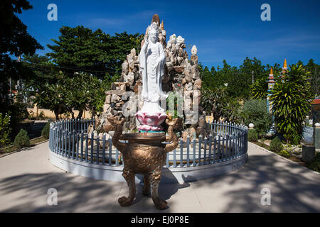 Buddha, figure, Dieu, An, Thap, Cham, Phan, Rang, Ninh, Rang, outside, pagoda, pagoda tower, place of interest, - Stock Photo
