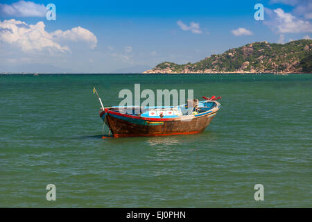 Fishing boat, Hon, Mun, bay, Vinpearl, island, South China Sea, sea, Asian, Asia, outside, mountains, mountainous, - Stock Photo