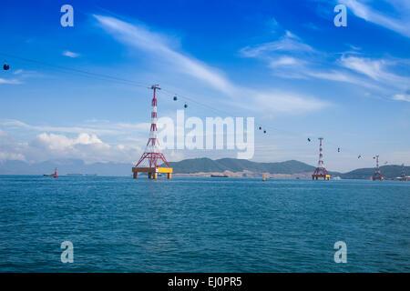 Vinpearl, island, Nha, Trang, South Vietnam, architecture, water, gondola, cable railway, transportation, Vietnam, - Stock Photo