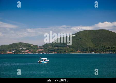 Bay, Vinpearl, island, South China Sea, sea, Asian, Asia, outside, mountains, mountainous, landscape, island, scenery, - Stock Photo