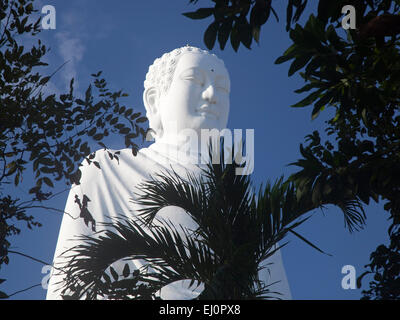 Giant white Buddha, Long Son Temple, Nha Trang, Khanh Hoa province, Vietnam, SE Asia, South East Asia, giant, white, - Stock Photo