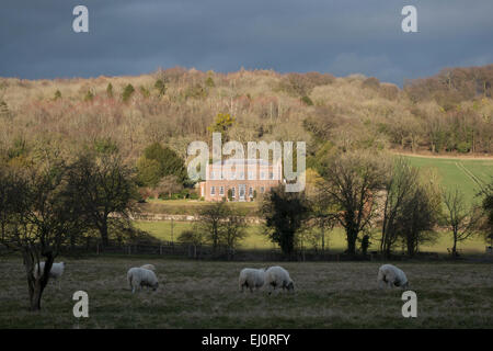 A view  of an imposing house near the village of Hambleden Buckinghamshire England - Stock Photo