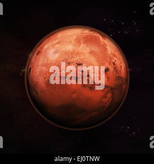 Planet Mars in space, red rock planet with red atmosphere with stars in the background. Elements of this image supplied - Stock Photo