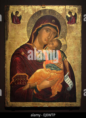Cretan icon of Mother of God Glykophilousa from around the year 1500 seen at the exhibition 'Byzantine Tradition - Stock Photo