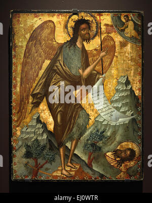 Cretan icon of Saint John the Baptist as the Angel of the Desert from the second half of the 17th century seen at - Stock Photo