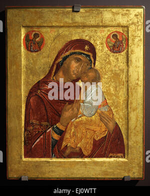 Russian icon of Mother of God Glykophilousa painted by Byzantine artist from the late 14th century to early 15th - Stock Photo