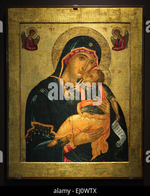 Cretan icon of Mother of God Glykophilousa from the second half of the 15th century to the first half of the 16th - Stock Photo