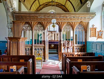 Interior of St Peter's Church, Buckland-in-the-Moor, Dartmoor, Devon, England UK - Stock Photo