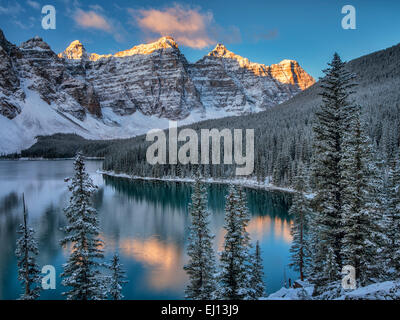 First snow of the season on Moraine Lake. Banff National Park, Alberta, Canada - Stock Photo