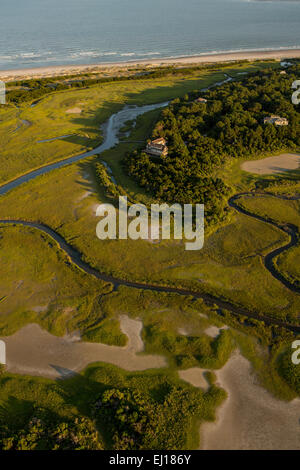 Aerial view of an estate home on Dewees Island along the Atlantic Ocean in Charleston, SC - Stock Photo