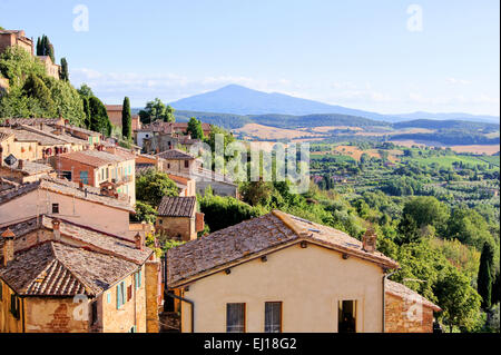 View over the landscape of Tuscany from the hill town of Montepulciano, Italy - Stock Photo