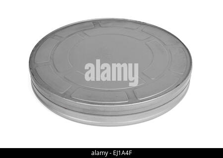 old metal movie film reel canister on a white background - Stock Photo