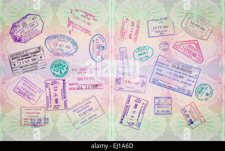 Retro Vintage Stamps In A European Passport From Multiple Locations - Stock Photo
