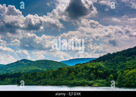 Lake and windmills on a mountain ridge in the rural Potomac Highlands of West Virginia. - Stock Photo