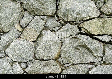 Closeup of dry stone wall with chinks or pins - Stock Photo