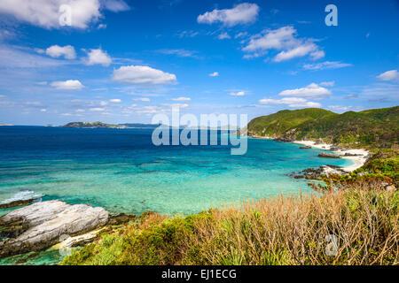 Tokashiki, Okinawa, Japan coastal view at Aharen Beach.