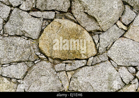 Close-up of a dry stone wall with chinking stones - Stock Photo