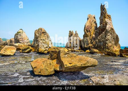 Kushimoto, Wakayama Prefecture, Japan. coastline at Hashi-gui-iwa rocks. - Stock Photo