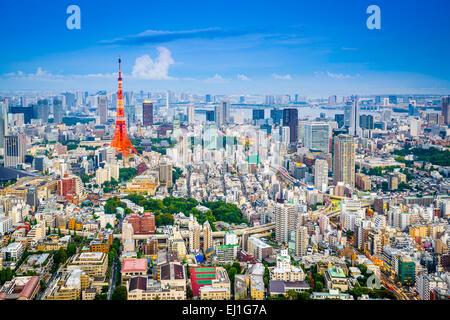 Tokyo, Japan city skyline from Roppongi Hills towards Tokyo Tower. - Stock Photo