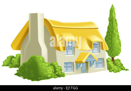 An illustration of a thatched country cottage or farm house - Stock Photo