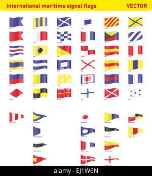 Set of international mritime signal flags - Stock Photo