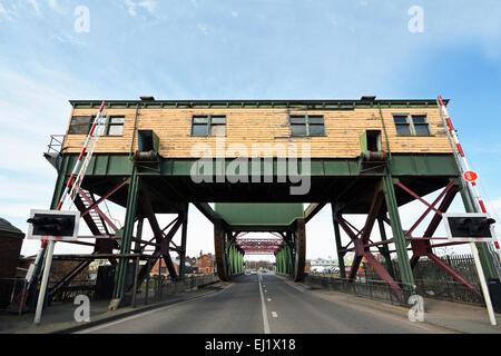 Duke Street (bascule type) bridge in Birkenhead Docks, Wirral, UK - Stock Photo