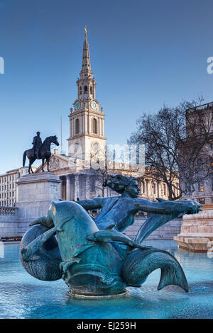 The Church of St Martin in the Fields, the statue of King George 1V, and the mermaid statue by Sir Charles Wheeler - Stock Photo
