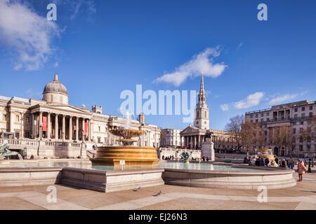 Trafalgar Square, London, on a sunny winter day. - Stock Photo