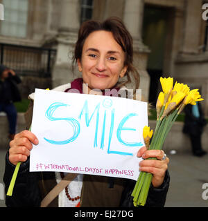 London, UK. 20th March. 2015. International Day of Happiness flash mob in Trafalgar Square, London. The   IDOH was - Stock Photo