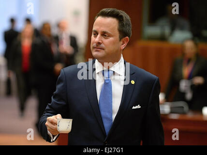Brussels, Belgium. 20th Mar, 2015. Luxembourg Prime Minister Xavier Bettel comes to the EU summit in Brussels, Belgium, - Stock Photo