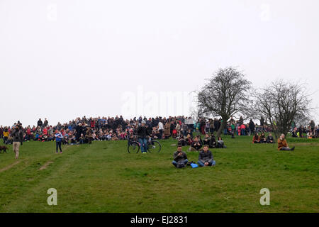 London, UK, 20th March 2015. Hundreds of people gathered in Primrose Hill to see the solar eclipse but it is blocked - Stock Photo