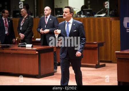 Brussels, Bxl, Belgium. 20th Mar, 2015. Luxembourg Prime Minister Xavier Bettel secod day meeting of European Council - Stock Photo