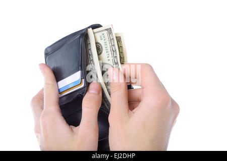 Hands taking money from open wallet isolated - Stock Photo