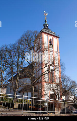 Kroenchen sculpture on the steepletop of Nikolaikirche Church, landmark of Siegen, North Rhine-Westphalia, Germany, - Stock Photo