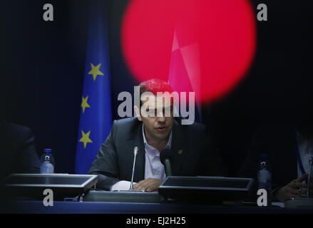 Brussels, Belgium. 20th Mar, 2015. Greece's Prime Minister Alexis Tsipras attends a press conference after the European - Stock Photo