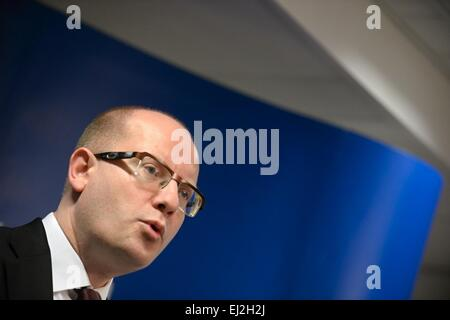 Brussels, Belgium. 20th Mar, 2015. Czech Prime Minister Bohuslav Sobotka speaks with media aftre the EU summit in - Stock Photo