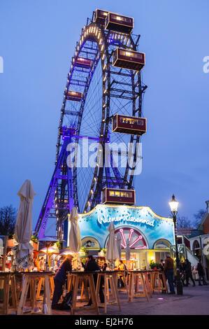 Wiener Riesenrad giant ferris wheel at the Prater amusement park,  Vienna, Austria - Stock Photo