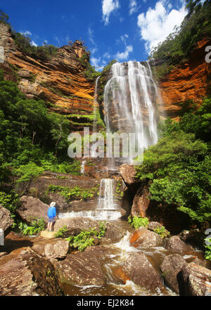Wentworth Falls in the Australian Blue Mountains - Stock Photo