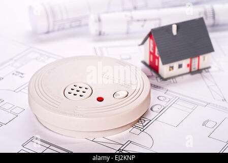 Fire Safety System Construction Smoke Detector On Blueprint