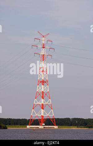 Pylons at Stade, power lines run across the Elbe, Stade, Lower Saxony, Germany, Europe - Stock Photo