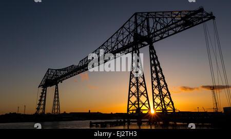 Tees transporter bridge at sunset - Stock Photo