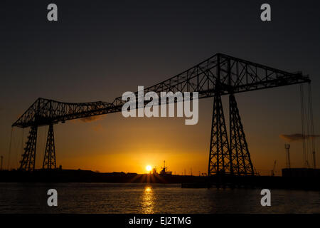 Tees transporter bridge sunset - Stock Photo